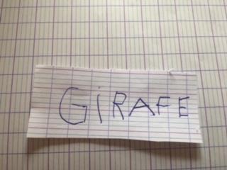 Manuel (GS) - écriture en lettres capitales du mot Girafe